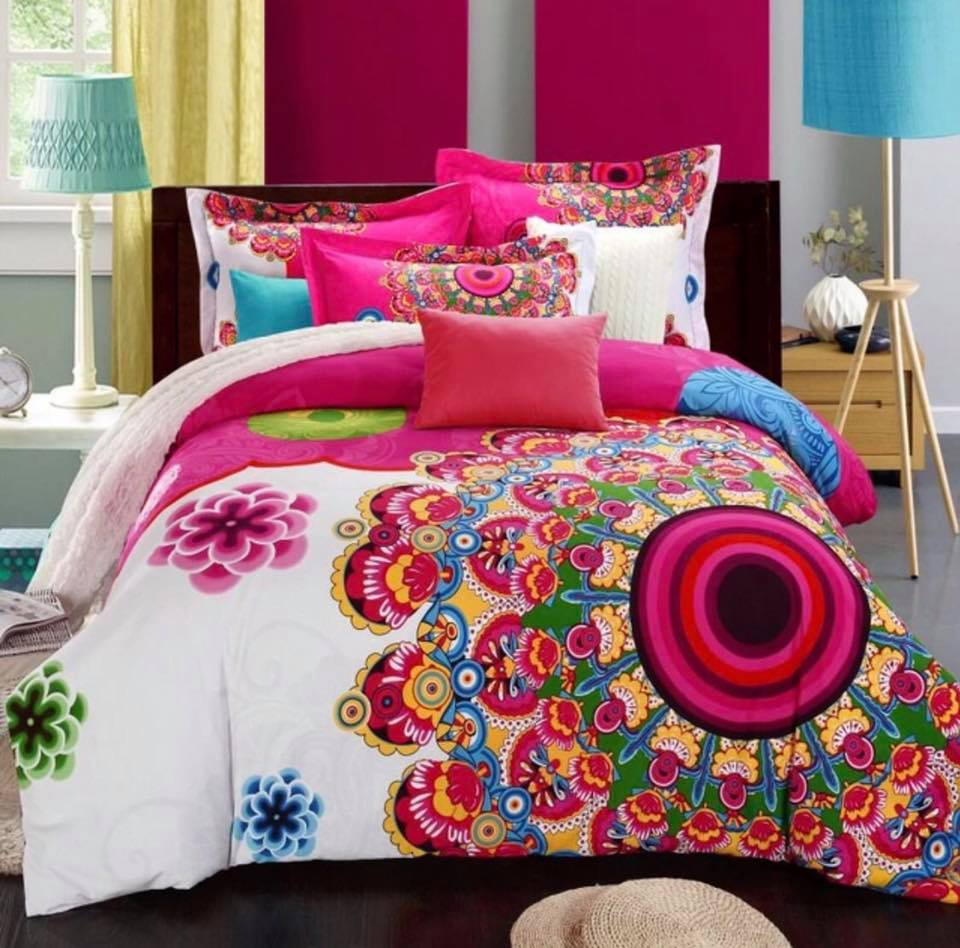 Ropa de cama modelo Mandala Rosa Matrimonial
